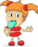 Девушка шаржа есть lollypop Стоковое Изображение