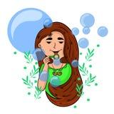 Девушка шаржа играя с пузырями мыла иллюстрация вектора