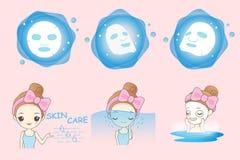 Девушка шаржа использует маску бесплатная иллюстрация