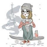 девушка шаржа милая Стоковое Фото