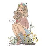 девушка шаржа милая иллюстрация вектора