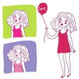 девушка шаржа милая иллюстрация штока