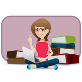 Девушка шаржа милая используя компьтер-книжку иллюстрация вектора