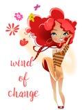 Девушка шаржа милая с красными волосами иллюстрация штока