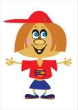 Девушка шаржа на белизне Стоковое Фото