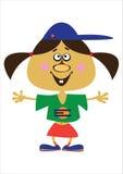 Девушка шаржа на белизне Стоковая Фотография