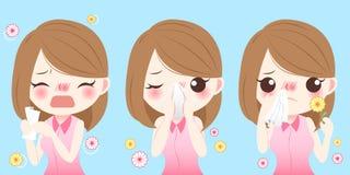 Девушка шаржа получает лихорадку сена Стоковое Изображение RF
