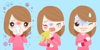 Девушка шаржа получает лихорадку сена бесплатная иллюстрация