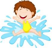 Девушка шаржа скача к воде иллюстрация вектора