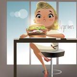 Девушка шаржа с бургером Стоковое Фото