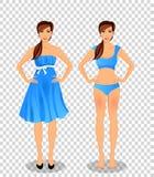 Девушка шаржа с длинными коричневыми волосами в голубых платье и нижнем белье иллюстрация штока