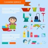 Девушка шаржа с комплектом объектов для убирать дом на b Стоковое Изображение