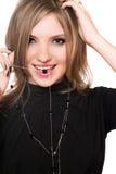 девушка шарика ее усмехаться портрета рта Стоковые Изображения RF