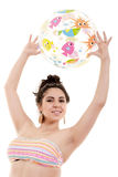 Девушка шарика изолированного пляжа Стоковая Фотография RF