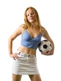 девушка шарика представляя футбол Стоковые Фото