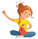 Девушка шить, линия иллюстрация вектора