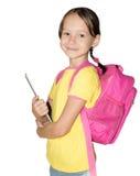 Девушка школы держа таблетку Стоковое фото RF