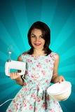 Девушка штыря-вверх красоты усмехаясь с смесителем Стоковое Изображение RF