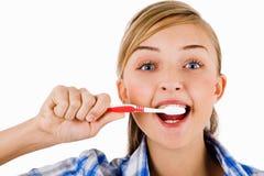 девушка щетки ее детеныши зуба Стоковое Изображение RF