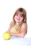 девушка яблока немногая желтый цвет Стоковое Фото