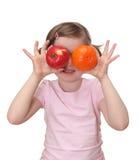 девушка яблока немногая померанцовое Стоковые Изображения