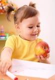 девушка яблока немногая Стоковое фото RF