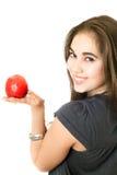 девушка яблока радостная стоковая фотография rf