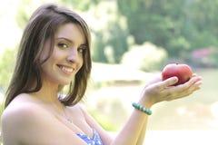 девушка яблока Стоковая Фотография