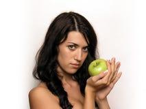 девушка яблока Стоковые Изображения
