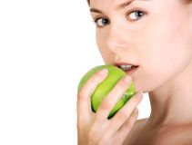 девушка яблока Стоковое Изображение