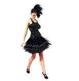 Девушка язычка в черном платье Стоковые Фотографии RF