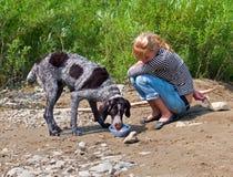 девушка 19 собак Стоковые Фотографии RF