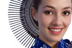 девушка 2 вентиляторов стоковое изображение rf