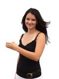 девушка 2 держит ваше продукта предназначенное для подростков Стоковые Фотографии RF