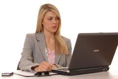 девушка 2 компьютера Стоковое Изображение