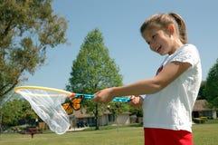 девушка 3 бабочек Стоковое Изображение RF