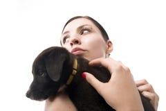 девушка 3 собак Стоковое Фото