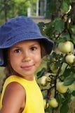 девушка 3 яблок Стоковое Изображение