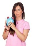 девушка atractive банка голубая piggy Стоковое Изображение