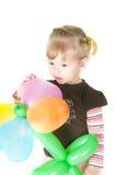 девушка baloons немногая Стоковая Фотография