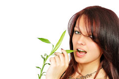 девушка bamboo красивейших укусов свежая Стоковая Фотография
