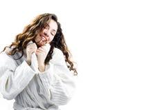 девушка bathrobe стоковые фотографии rf