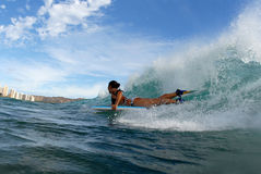 девушка bodyboarder стоковое изображение
