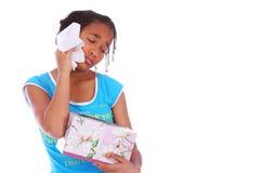 девушка c афроамериканца плача Стоковое Фото