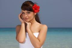 девушка caribbean пляжа Стоковые Фотографии RF