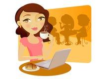 девушка coffe довольно принимая детенышей Иллюстрация штока