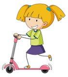 Девушка Doodle играя скутер пинком иллюстрация вектора