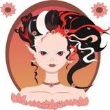 Девушка /elf феи с красными, черными, белыми волосами, цветками, красным цветом наблюдает иллюстрация вектора