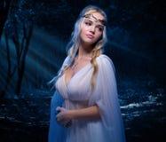 Девушка Elven в лесе ночи Стоковая Фотография
