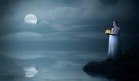 Девушка Elven на морском побережье Стоковые Изображения